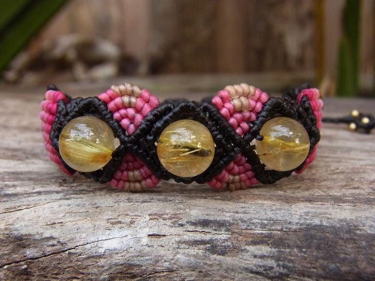 Macrame Bracelet Wristband Gold Rutilated Quartz Gemstone Handmade Handcrafted #Handmade