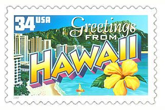 The Hawaii State Postage Stamp  Depicted above is the Hawaii state 34 cent stamp from the Greetings From America commemorative stamp series. The United States Postal Service released this stamp on April 4, 2002. The retro design of this stamp resembles the large letter postcards that were popular with tourists in the 1930's and 1940's.