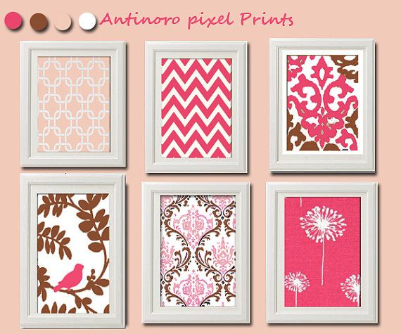 Pink Brown Kitchen / Nusery Vintage / Modern inspired  Art Prints Collection (Series C) -Set of 6 - 5x7Prints -   (UNFRAMED)