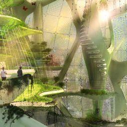 SEOUL VERTICAL FARM & BOTANICAL GARDENS  Inside the green sphere