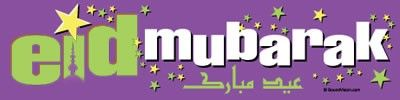"While balloons and streamers add festivity to an occasion like Eid, almost nothing does the job better than a large and attractive banner announcing ""Eid Mubarak!""  That's what this product is for. In bright yellow, white, and green colors on a purple, glossy background, viewers are greeted with ""Eid Mubarak"" in Arabic and English.   Visit http://www.muslimzon.com/Eid-Mubarak-Banner-Vinyl--Ramadan-Eid-Gift_p_1576.html"