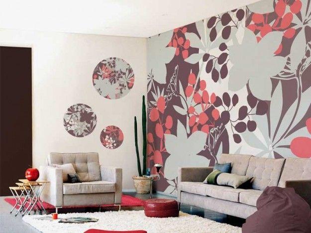 Carta da parati fiori - Carta da parati moderna e di design: per soggiorno con grandi fiori.