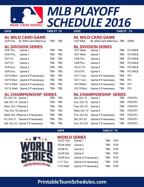 MLB Playoff Schedule 2016