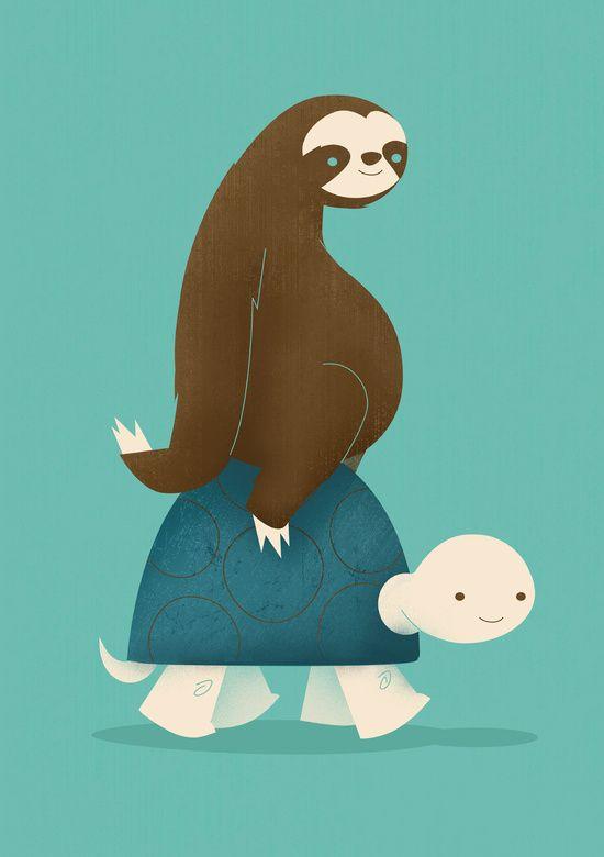 Slow Ride Art Print - Sloth and Tortoise