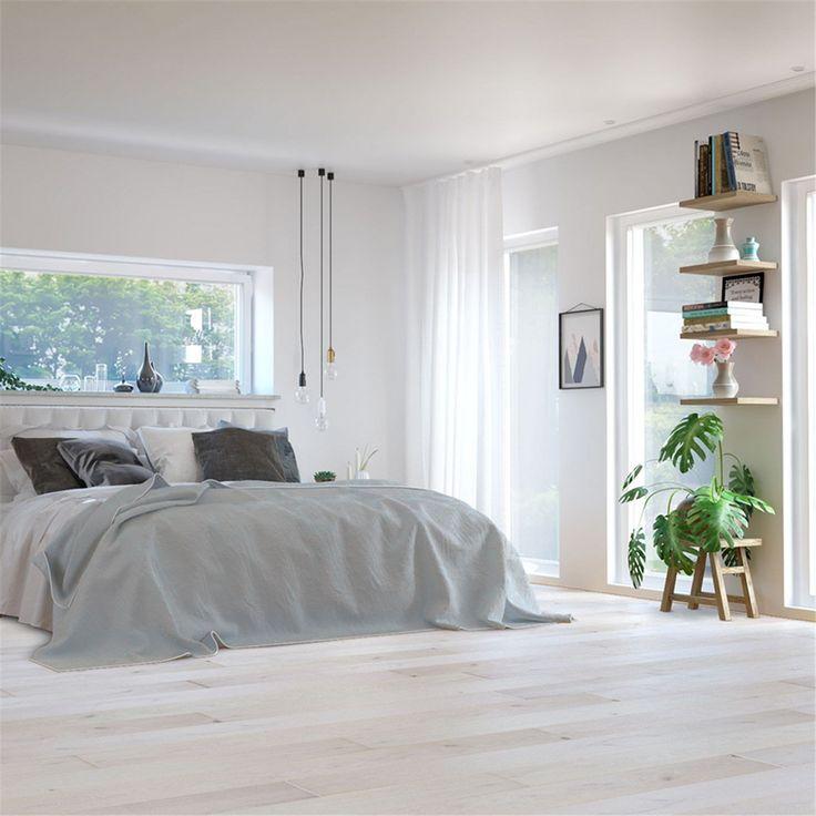 Trägolv Nordic Floor Ek Pure White Mattlackad 1-stav