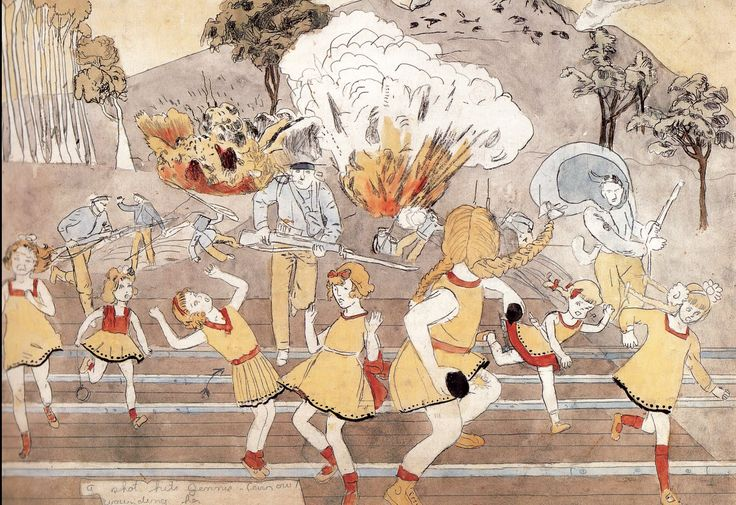 "Henry Darger: ""a shot hits Jennie ----- --- wounding her"" The Vivian Girls are heroines and princesses of Abbiennia, an enormous nation on an unnamed planet of which earth is the moon. They are 7 immortal, yellow dressed, blond sisters, in a war provoked by the Glandelinians, a group of 'haughty' men who practice child enslavement. After ferocious battles and terrible bloodshed, the 7 sisters and the good Christian children of Abbiennia force the men to surrender."