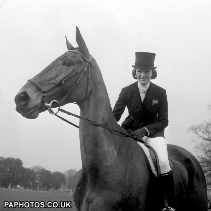 Mary Gordon-Watson, on Cornishman V, part of the Olympic Great Britain Equestrian Team. She went on to win the gold medal in the three day event team along with Bridget Parker, Mark Phillips and Richard Meade.