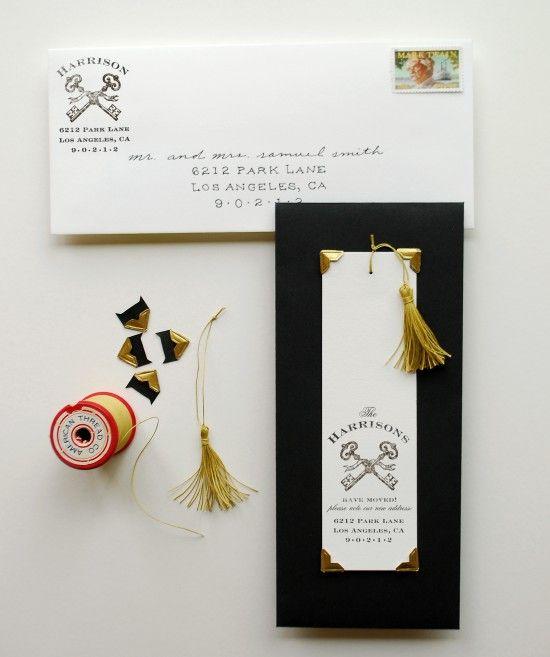 DIY Tutorial: Moving Announcement Bookmarks | Design + Photo: Antiquaria