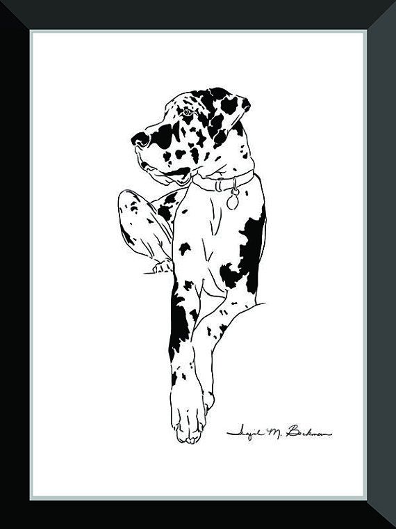 Great Dane Art Harlequin Dog Print Great Dane Print Great Dane
