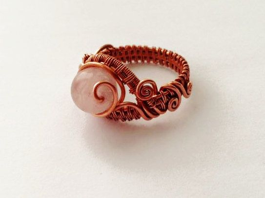 Rose Quarts Woven Copper Statement Ring by majesticwireartworks