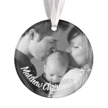 Custom New Parents Baby Photo Holiday Ornament - parenting parents kid children mom dad family