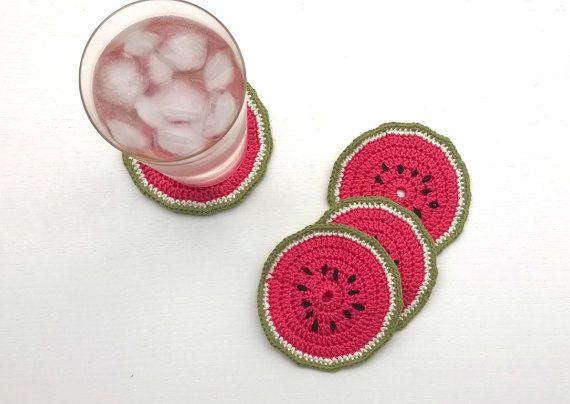 Coasters Crochet Coasters Watermelon Coasters by AGirlNamedMariaDK #coasters #coaster #drink #beverage #party #supplies #home #decor #entertaining #tablesetting #decorating #dinner #table #guests #glass #mug #cup #summer #spring #watermelon #red #coral #pink #green #white #seeds #melon #fruit