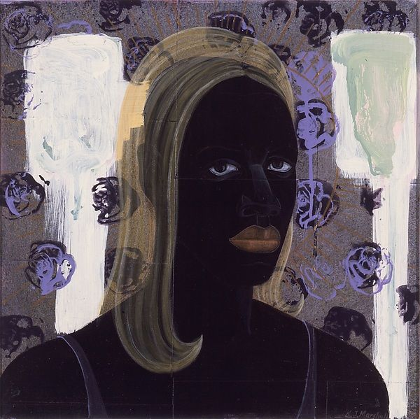 'Self-Portrait of the Artist as a Super Model' (1994) by American artist Kerry James Marshall (b.1955). Acrylic and collage on board, 25 x 25 in. via hyperallergic