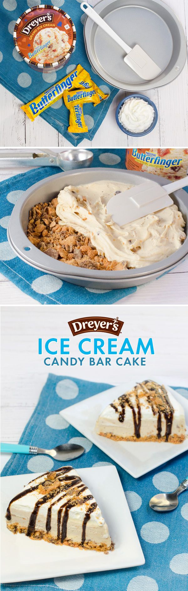 What do you do with leftover Nestlé Halloween candy? This! Chop up enough candy to cover the bottom of a cake pan, and top with layers of Dreyer's Nestlé Butterfinger® ice cream, whipped cream and chocolate drizzle. Then, sprinkle crushed candy over the top for the finishing touch on this cool, crunchy treat!