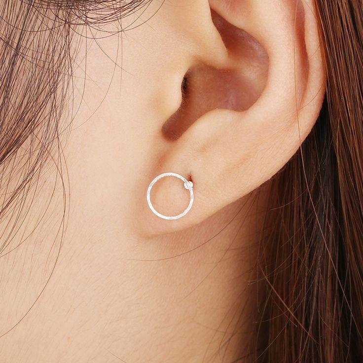 패션 화이트 골드 도금 간단한 삼각형 광장 라운드 스터드 귀걸이, 패션 보석 e0122