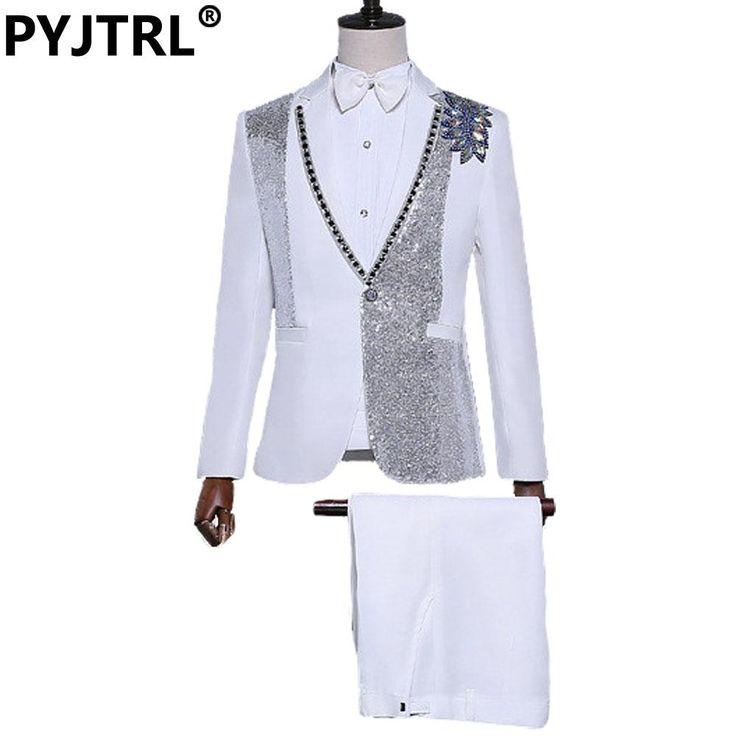 OLAMICH Jacket Pant New Design Men Sequins Diamond Suits Stage Dance Singer Groom Wedding Suit