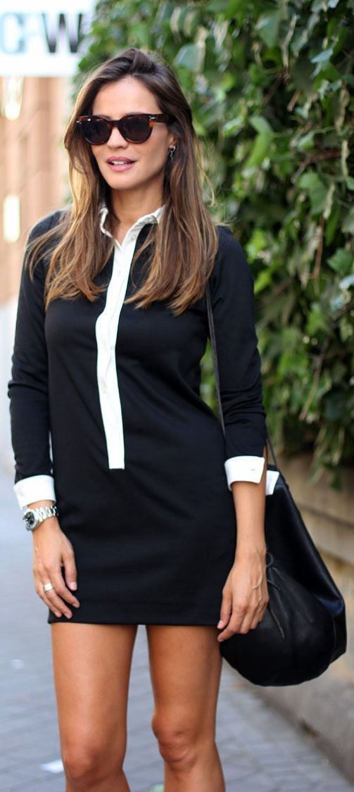Silvia Zamora is wearing a black and white dress from Zara , backpack from Rita Rembs and sunglasses from Celine... | Style Inspiration