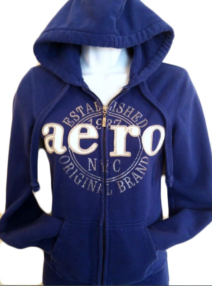 Aeropostale blue women's hoodie extra small 70% cotton 30% polyester XS.......L #Aropostale #Hoodie