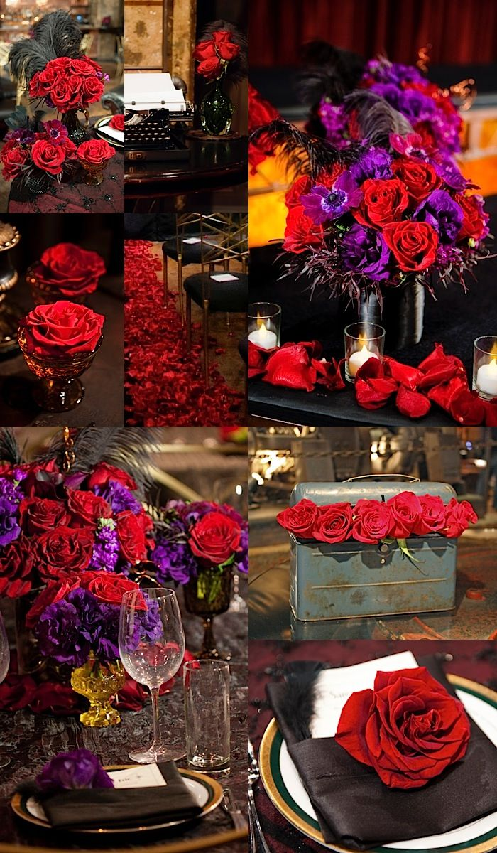 Lush red and purple color palette! To see more fabulous wedding reception ideas: http://www.modwedding.com/2014/11/04/swooning-fabulous-wedding-flower-ideas-heavenly-blooms-part-ii/ #wedding #weddings #wedding_reception Photo: Susan Bordelon  So cool. Great for purple weddings