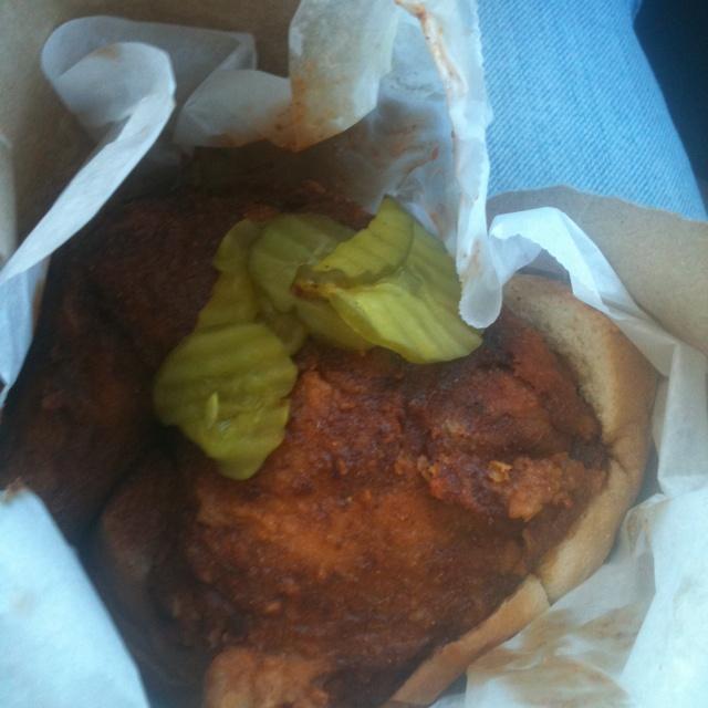 Hot chicken, white bread & pickles  @prince's chicken shack  Nashville