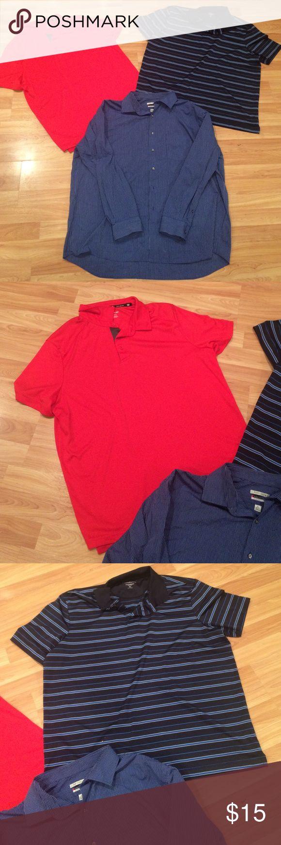 Men's XL shirt bundle! Dress shirt 16.5 neck 34/35 - Polos size xl and all are excellent! Shirts Dress Shirts