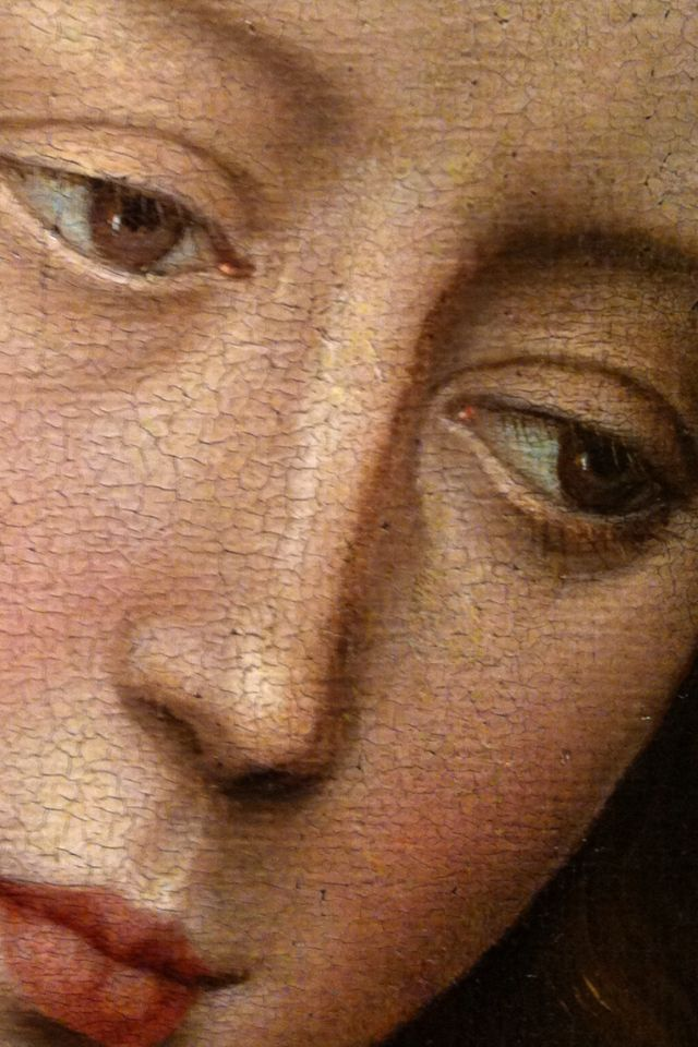 """wtfarthistory: """" Rogier van der Weyden, Madonna and Child (detail), about 1460, oil on masonite, transferred from canvas, originally on panel. The Huntington Library, Art Collections, and Botanical..."""