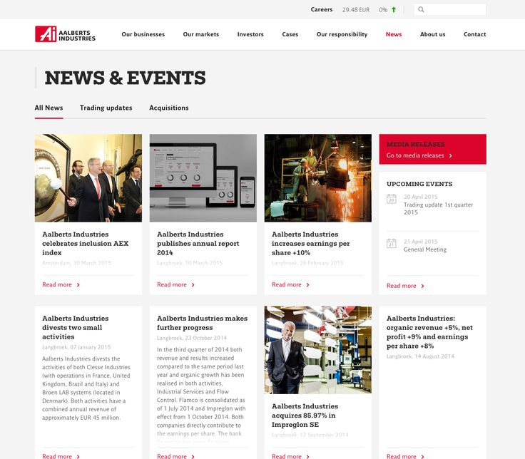 A nice card layout for news articles.  Also nice how they have integrated the Upcoming Events and Media Releases and a category filter, this would be a good approach for the FCB news, events, and white papers.