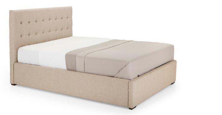 Add a touch of decadence to your bedroom with the Finlay upholstered king size bed in beige, with handy under-bed storage.