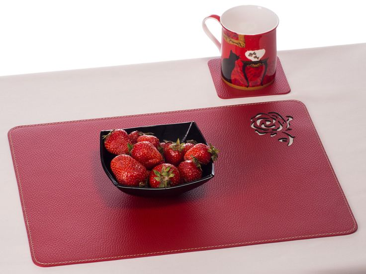 Red Placemat Laser Cut Rose Table Mat Dining Decor