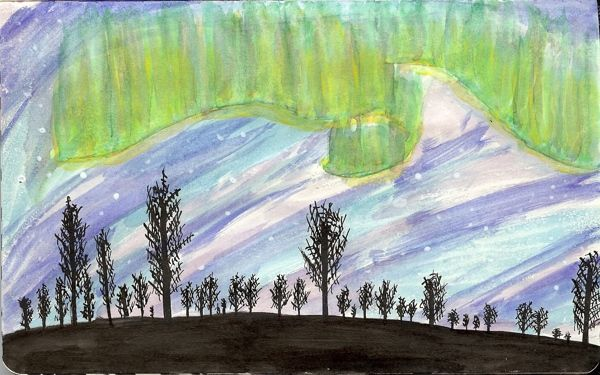 From my Moleskine - Aurora Borealis in ink, watercolours and a bit of acrylics   Tali Kord