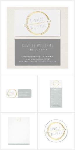 BRAND | MODERN ARROW RUSTIC GOLD + GREY Matching stationery items for your business to promote a professional cohesive brand and image.