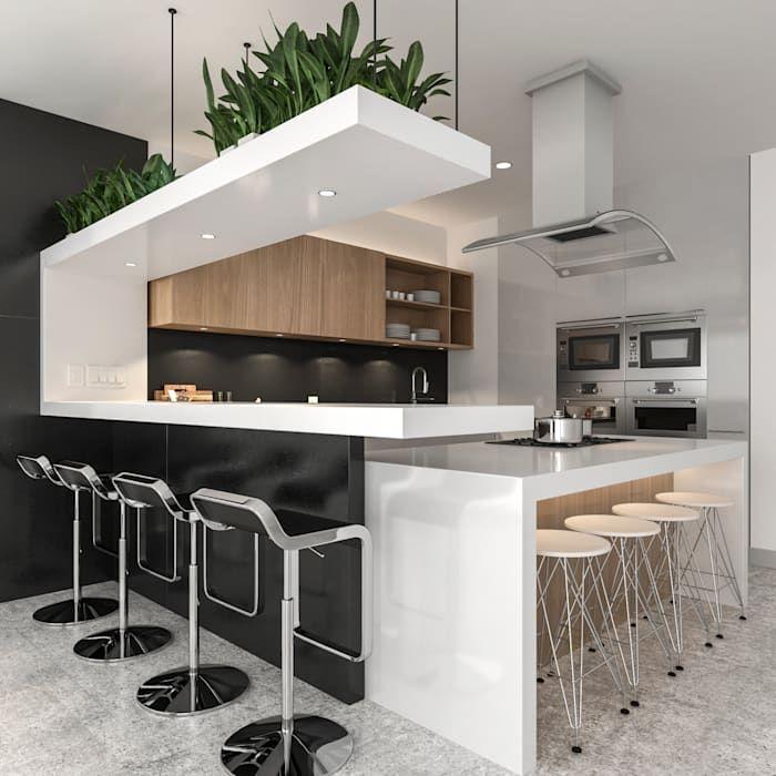 Cocina Integral Con Barra De Bar Juve 3d Studio Cocinas Equipadas Blanco Homify Cocina Integral Con Barra Diseno De Cocina Comedor Diseno De Cocina De Lujo