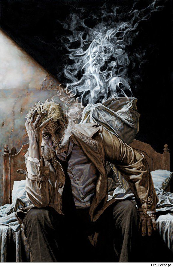 John Constantine, the occult detective of the series Hellblazer, by Lee Bermejo. Don't miss the face in the smoke.