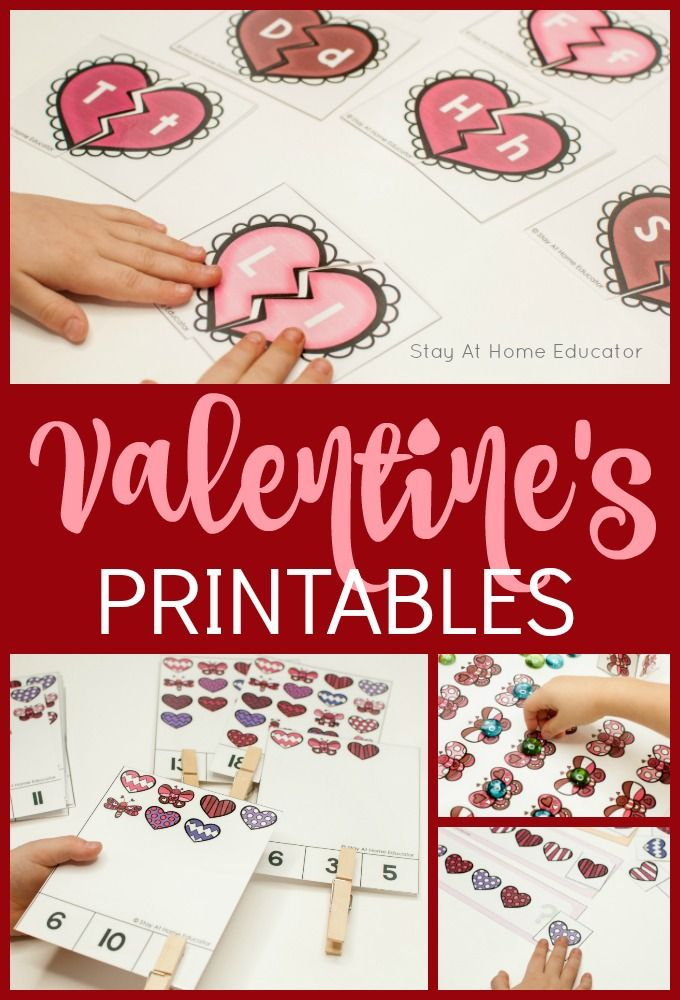 Valentine's Day printable for preschoolers...Preschoolers love these learning activities designed just for Valentine's Day. Use these Valentine's printables for small groups, Valentine's centers, party activities or even quiet time activities at home!  #valentinesday #kidsactivities #printables #heart #holiday