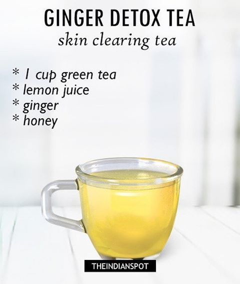 Lemon juice is very good ingredient to cleanse out the system and ginger has anti-inflammatory benefits. It helps to keep your skin clear and acne free.  What you need:  green tea -1 bag Lemon juice- from 1/2 lemon Ginger – 1 inch honey – ½ tablespoon Recipe – Brew a cup of green tea along with slices of ginger and allow it to steep for 5-10 minutes. Mix in the lemon juice and honey and consume this drink in the morning. More detox tea recipes on the blog  #tea #detox #skintea #clearskin ...