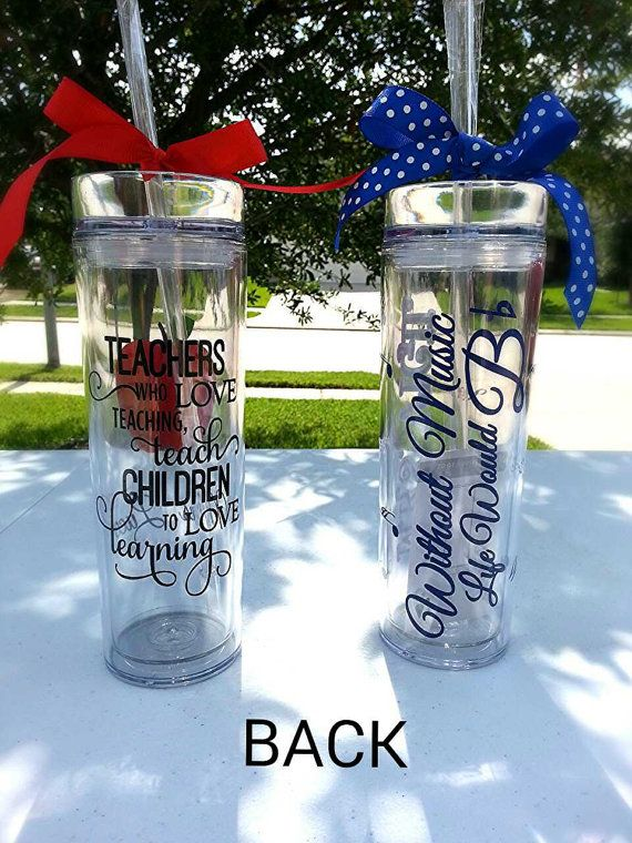 Personalized Vinyl Tumbler; Personalized Teacher Tumbler; Personalized Music Teacher Tumber - Teachers Gift on Etsy, $12.00