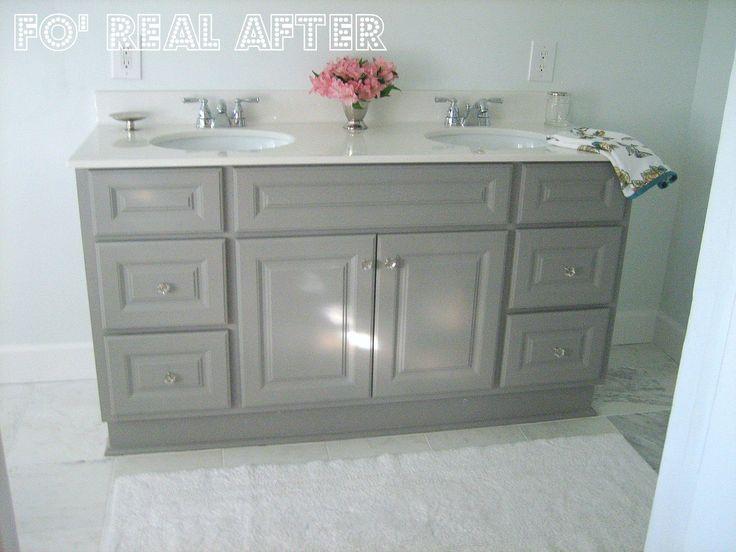 Ten June: {DIY} Custom Bathroom Vanity. Martha Stewart, Cement Gray.