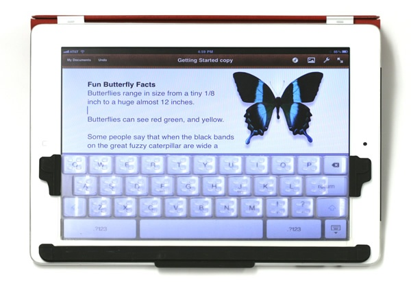Flexible keypad for iPad from Kickstarter. Waiting for mine to arrive any day now.