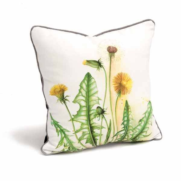 DANDELION CUSHION. Details Dimensions: width: 40 cm depth: 40 cm Composition: Mixed textile, digital print on cotton Colection: HERBARIUM TRANSYLVANIA, 2016 HERBARIUM TRANSYLVANIA is a collection of botanical studies and designs reflecting a taste for pure elegance of natural beauty. it tells stories of slow traveling through Transylvanian landscapes, recording states of mind and experiences of absolute tranquility.