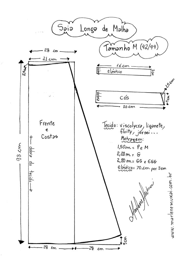 Molde de Saia de Malha tamanho M (42/44).
