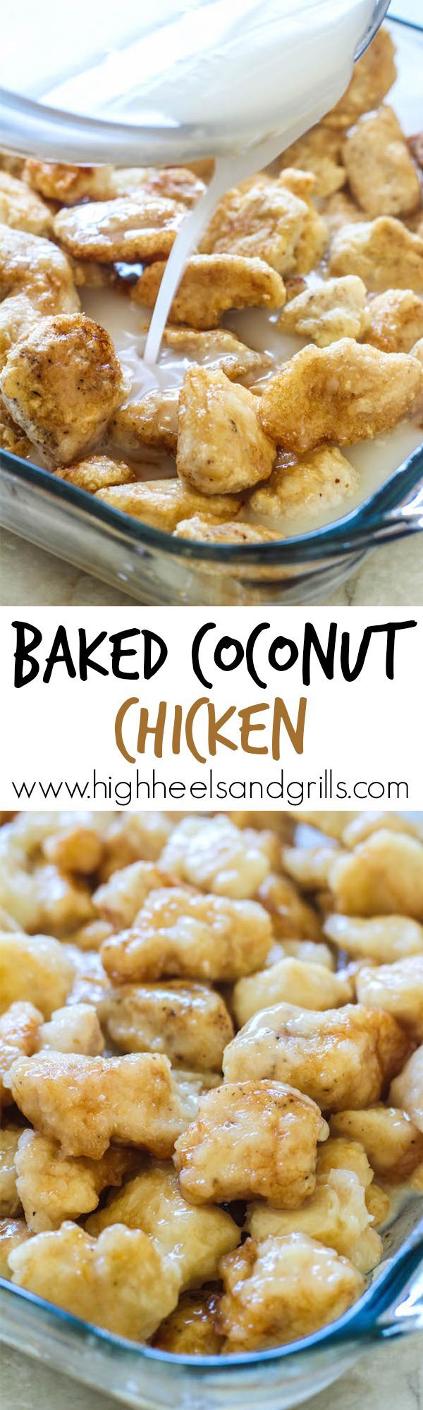 Baked Coconut Chicken - Better than take-out and half the price too. This is my favorite homemade Asian dinner! http://www.highheelsandgrills.com/baked-coconut-chicken-recipe/ ?