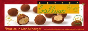 """Zotter Schokoladen Balleros """"Pistazien in Mandelnougat"""""""