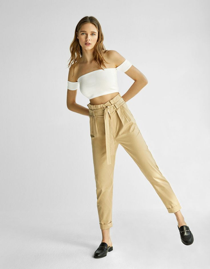 High-rise cropped trousers with belt - Trousers - Bershka Israel