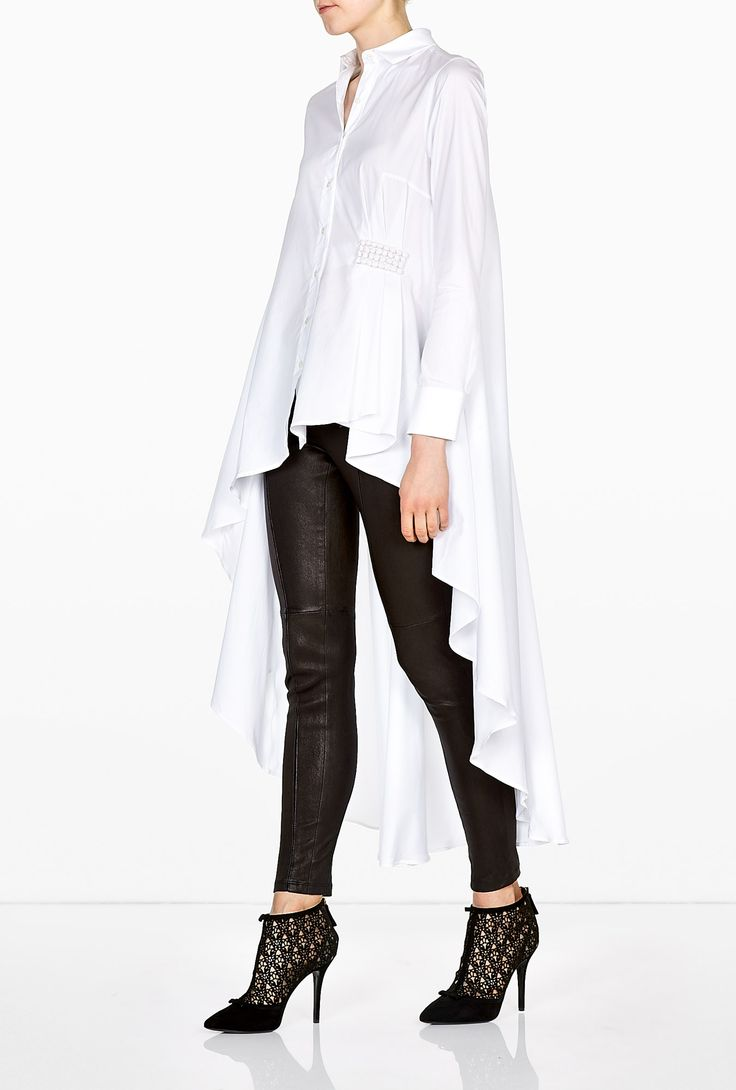 Cotton Poplin Long Back Asymmetric Shirt by palmer//harding