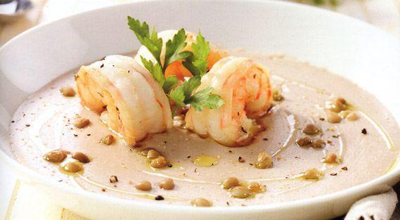 Vellutata di fagioli con gamberi e lenticchie | Food Loft - Il sito web ufficiale di Simone Rugiati
