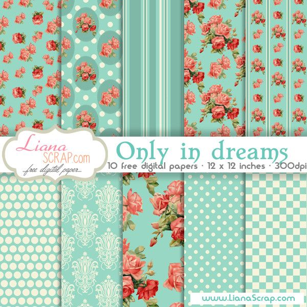 Shabby Chic free digital paper with roses pattern, damask background, stripes, dots and honeycomb geometric patterns, perfect for any shabby chic scrapbook layout.