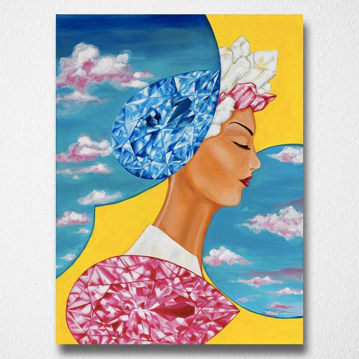 Portal of Dreams (Canvas print) by Reena Ahluwalia. Pear-shaped Diamonds. Starts from $345.00. #FancyColorDiamonds #DiamondPaintings #DiamondArt #ReenaAhluwalia #Diamonds #PearShapedDiamond #PearShaped #BlueDiamond #PinkDiamond