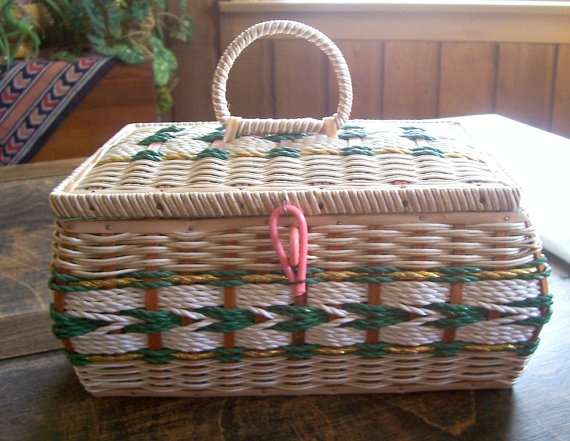 Vintage Woven Basket  Sewing Treasures Jewlery Stash by TrashMaMa, $15.00