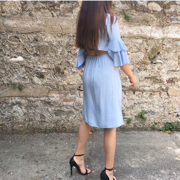 Leila Mavi Gömlek Elbise  #backless #dress #vintage #elbise #sırtdekoltesi #confortable #rahat #viscon #slit #blue