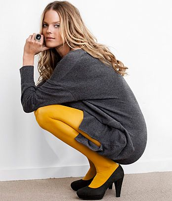 I'm liking the yellow tights with the gray sweater dress